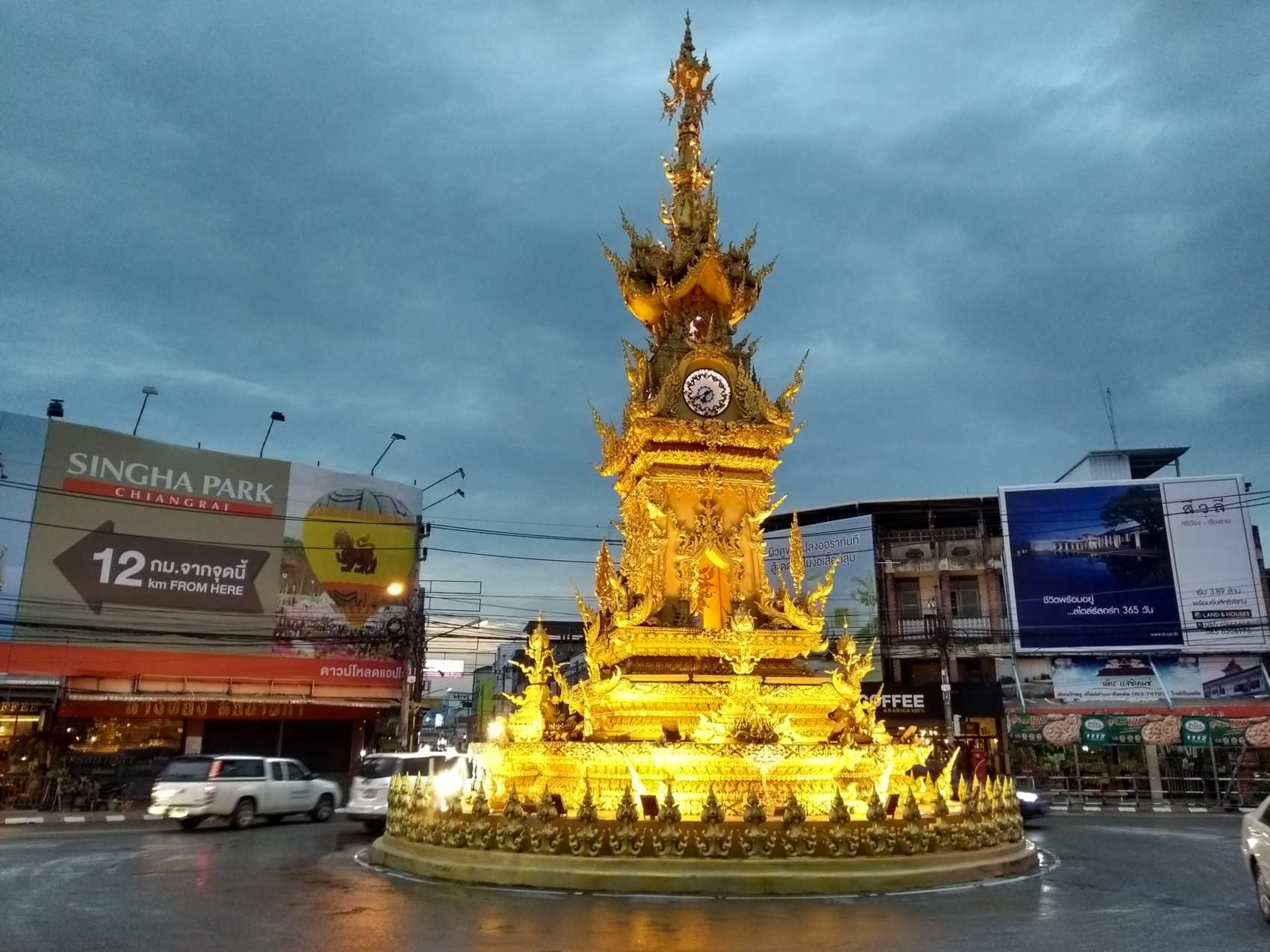 The Golden Clock Tower in Chiang Rai